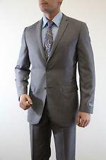 Men's Solid Skinny Slim Fit Suit 2 Button 2 Piece Notch Lapel Flat Front Pants