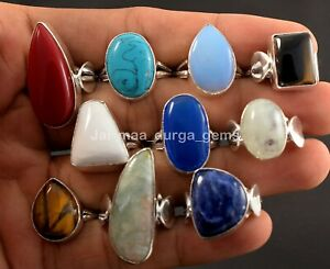 10 Pcs Chalcedony Amethyst Scolecite Onyx Mix 925 Sterling Silver Rings RB-41