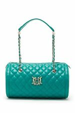 LOVE MOSCHINO QUILTED BARREL TURQUOISE BLUE FAUX LEATHER BAG PURSE SILVER CHAIN