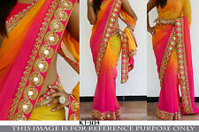 Bollywood Ethnic Traditional Designer Art Silk Saree Sari Bridal Party Dress