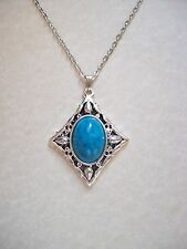 STUNNING ANTIQUE SILVER & BLUE TURQUOISE  PENDANT NECKLACE