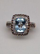 NEW 10K Yellow Gold Blue Topaz Ring with Smokey Topaz and White Diamond Halo