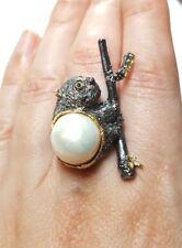 Panda teddy bear amethyst white pearl peridot sapphire ring size 7.75 925 silver