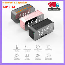 Mirror LED Alarm Clock Thermometer Digital Wireless Bluetooth Speaker FM Radio