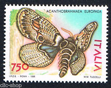 ITALIA 1 FRANCOBOLLO ANIMALI FARFALLE ACANTHOBRAHMAEA EUROPEA 1996 nuovo**