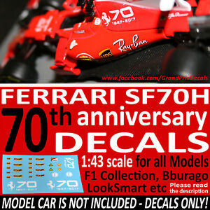 FERRARI SF70H 70th DECALS for 1/43 F1 Collection IXO LookSmart Bburago models