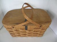 VINTAGE RATTAN/WICKER PICNIC BASKET  WITH HANDLES WITH WOOD LID AND HANDLES