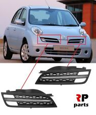 FOR NISSAN MICRA 2005 - 2010 NEW FRONT BUMPER UPPER PAIR GRILL WITH CHROME TRIM