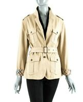 RARE BURBERRY LONDON WOMENS TRENCH MAC JACKET BELTED COAT NOVA CHECK PLAID 12UK