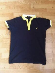 7/11 PREOWNED MEN'S BLACK YELLOW TRIM SS VOI JEANS POLO SHIRT TOP SMALL L