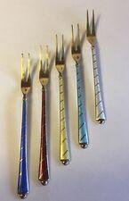 Vintage Set of 5 Sterling & Enamel Cocktail Forks David Anderson Norway