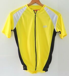 NWOT BELLWETHER Bright Yellow Cycling Jersey Mens S Small Top Full Zip Pockets
