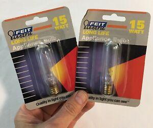 2 PACK Feit Electric 15 Watt T6 Incandescent Appliance Exit Bulb BP15T6-130