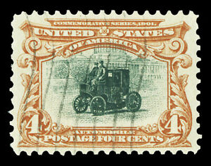 Scott 296 1901 4c Brown & Black Pan-American Issue Used XF Lightly Canceled