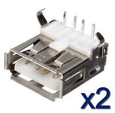 Lot 2 connecteurs à souder USB type A femelle/ 2x USB female connector to solder