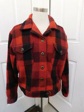 RED PLAID WOOL COAT SIZE L ERIKA CASUALS CLOTHING CO