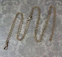 Victorian Gold Tone Turquoise and Pearl Slide Watch Chain Necklace