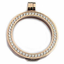 Coin Holder Pendant Rosegold Plated Stainless Steel with Cz Cubic Zirconia