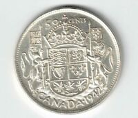 CANADA 1942 FIFTY CENTS HALF DOLLAR KING GEORGE VI CANADIAN SILVER COIN
