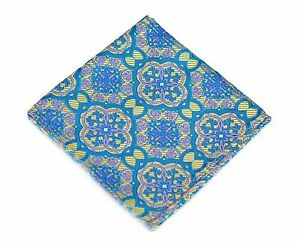 Lord R Colton Masterworks Pocket Square - Trujillo Yellow Blue Silk - $75 New