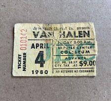 Van Halen Concert Ticket Stub 4/4/1980 Seattle Center Coliseum, Washington