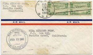 GUAM USA SHIP ARMY TRANSPORT SS GRANT AIRMAIL CHINA CLIPPER PAN AM 1941 WAR DEPT