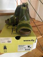 Fly London Adye 36 Womens Wedge Green/Lemon Mousse NIB $189 SOLD OUT
