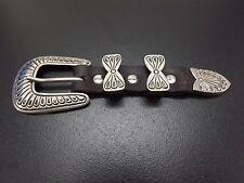 925 Sterling Silver Vintage Belt Buckle Loop Tip Engraved SIGNED HANDMADE ladies