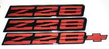 82-92 Camaro Z28 Red Rocker Panel Emblem Set of 3 NEW