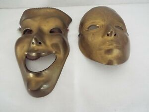 Lot of 2 Vintage Solid Brass Theatrical Face Masks Wall Mounting w/Ribbons India