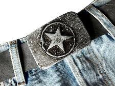 Gürtelschnalle Wechselschnalle Stern belt buckle star Vintage grau Biker  4 cm