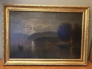 Antique Nocturnal Luminist Landscape w/ Campfire Boat Moonlit Sky Oil Painting