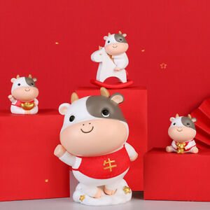 Chinese New Year Cow Cattle Home Decor Figurine Resin Sculpture Statue Model New