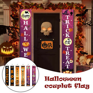 Halloween Trick Or Treat Hanging Porch Sign Banner Front Door Party Decor NEW