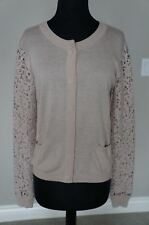 NEW Anthropologie Day Birger Mikkelsen Button Down Crochet SLV Cardigan Jacket S