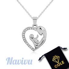 Silberne Halskette Mutter Kind mit Kristallen und Herz Anhänger - Geburt Geschen