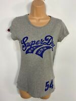 WOMENS SUPERDRY SIZE XS GREY MIX LOGO FRONT CREW NECK CASUAL SUMMER T SHIRT TOP