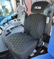 Grammer Maximo Dynamic Seat Cover Black Fabric & Yellow Stitching With JCB Logo