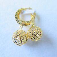 AU750 Pure 18K Yellow Gold Women Hollow Ball Hoop Dangle Earring/  2.8g