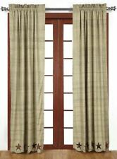 Abilene Star Lined Textured Cream Country Curtains Tie-Backs & Frayed Appliques