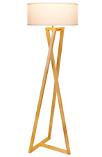 "Brightech""Z"" Wood Tripod Rustic Floor Lamp - Mid Century Modern, Standing LED -"