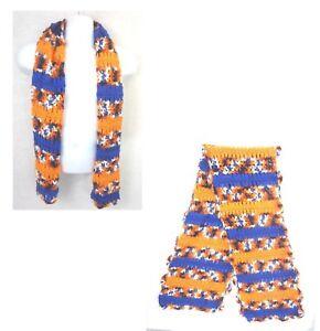 Crochet scarf muffler Orange Blue College Football Florida Pro Football Denver