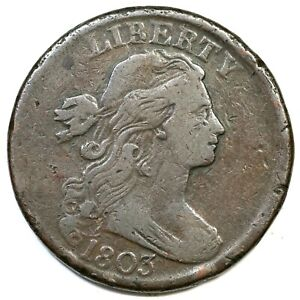 1803 Draped Bust Large Cent Coin 1c