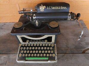 Antique LC Smith & Bro Black Gold Typewriter Manual Ornate Salvage Cond Stuck