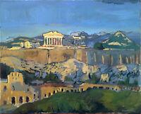 "Greek Impressionist Original Signed Oil Painting Acropolis Landscape 30""x24"" Art"