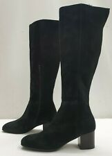 DUNE BLACK ladies womens black real suede leather boots Size 3.5 EU 36.5