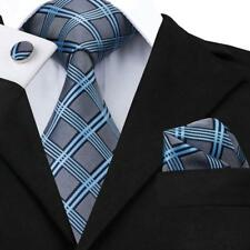 USA Classic Mens Plaids&Checks Silk Tie Blue Red Black Necktie Set Wedding Party