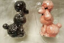 Attractives New Pink And Black Magnetic Salt And Pepper Kissing Poodles Shakers