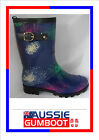 Gumboots Ladies Mid Length Starburst Size 5 6 7 8 9 10 11 Buckle Wellies Womens
