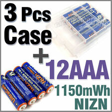 3 x Holder Case Box + 12 AAA NiZN 1150mWh 1.6V rechargeable battery Ultra Blue